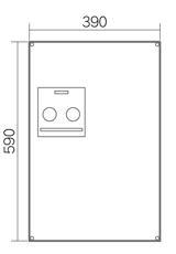 宅配ボックスコンボミドル・ハーフタイプ前面形状図