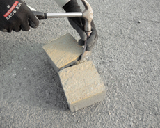 舗装用コンクリートブロック「アルテア Nタイプ」1/2パーツとしての加工方法